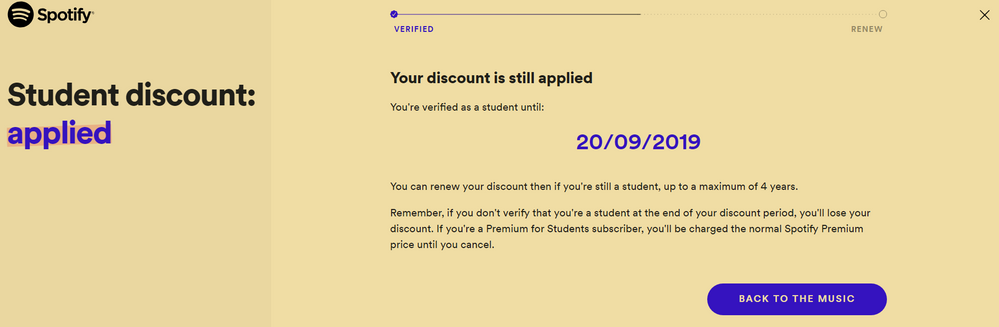 Spotify how to renew student discount
